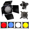Montaje Universal Studio Barn Door 10 cm con nido de abeja cuadrícula y 4 Gel Gel de Color Kit de filtros