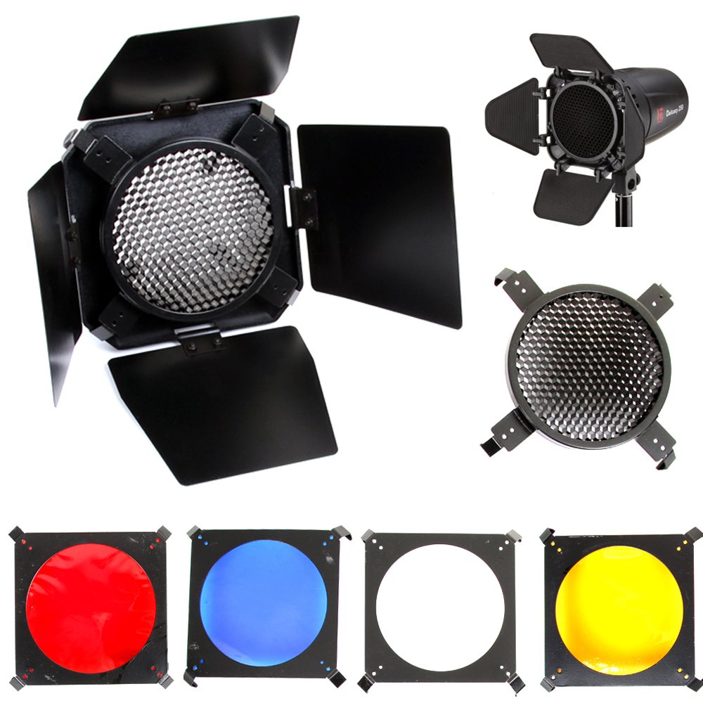 Universal Mount Studio Barn Door 10cm with Honeycomb Grid &4 Gel Color Filters Kit