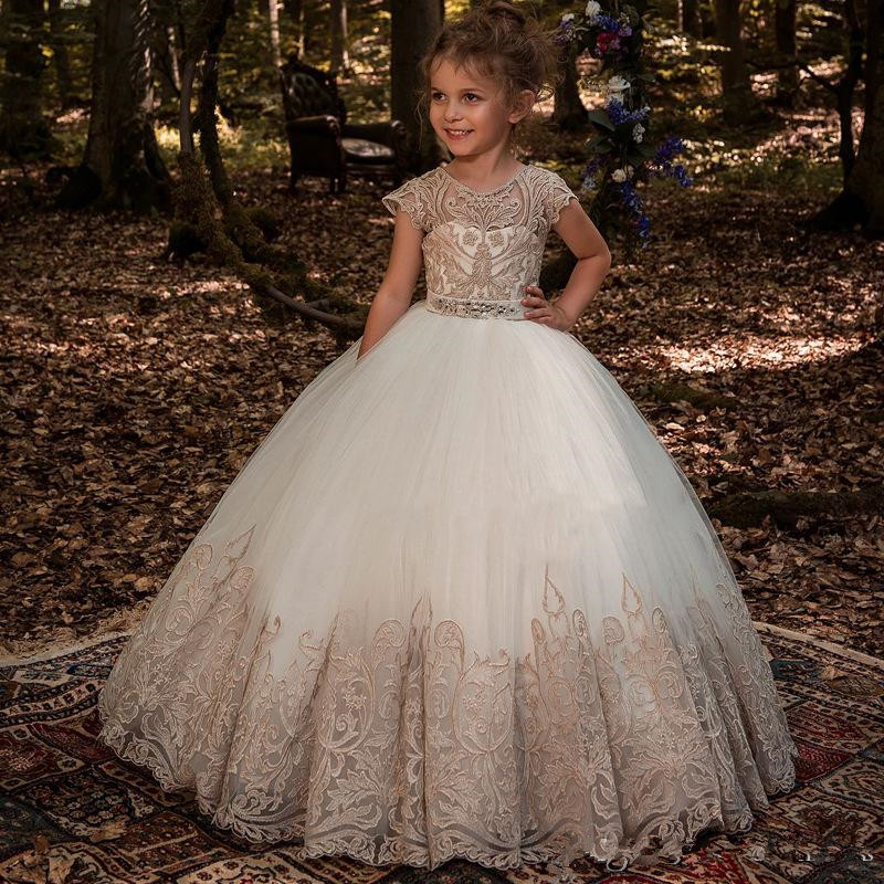 Elegant Cap Sleeves Lace A Line   Flower     Girl     Dresses   Tulle Beaded Sash Floor Length Gilrs 'Pageant Birthday Party   Dresses