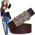 2016 Genuine Cowskin Leather Belts For Women Carved Design Retro Metal Women Strap Cintos Ceinture Female High Quality Belts
