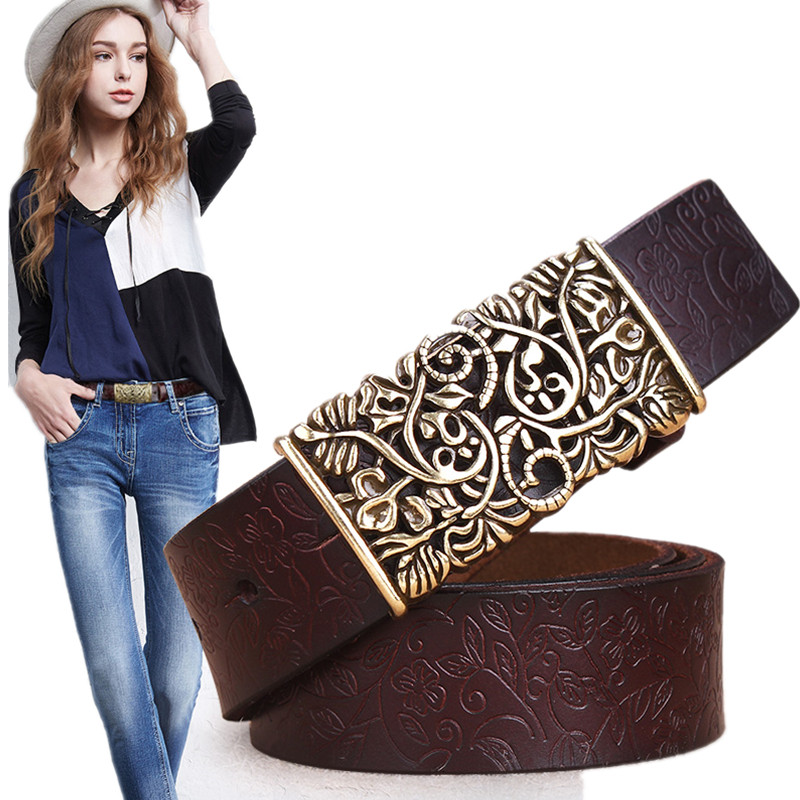 Genuine Cowskin Leather Belts For Women Carved Design Retro Metal Women Strap Cintos Ceinture Female High Quality Belts