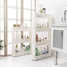 Removable Wheels Crack Bathroom Storage Holder Space Savers Multi-layer Kitchen Rack Organizer FP8