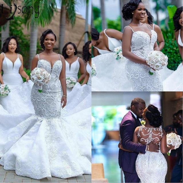 Luksusowe afryki suknie ślubne syrenka Plus rozmiar 2019 Robe de mariee czarny dziewczyna kobiety koronkowe suknie ślubne ręcznie robione suknia dla panny młodej