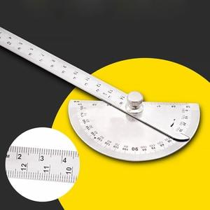 Image 3 - 14.5cm 180 graus ajustável transferidor multifunções de aço inoxidável ângulo de cabeça redonda régua ferramenta medição matemática