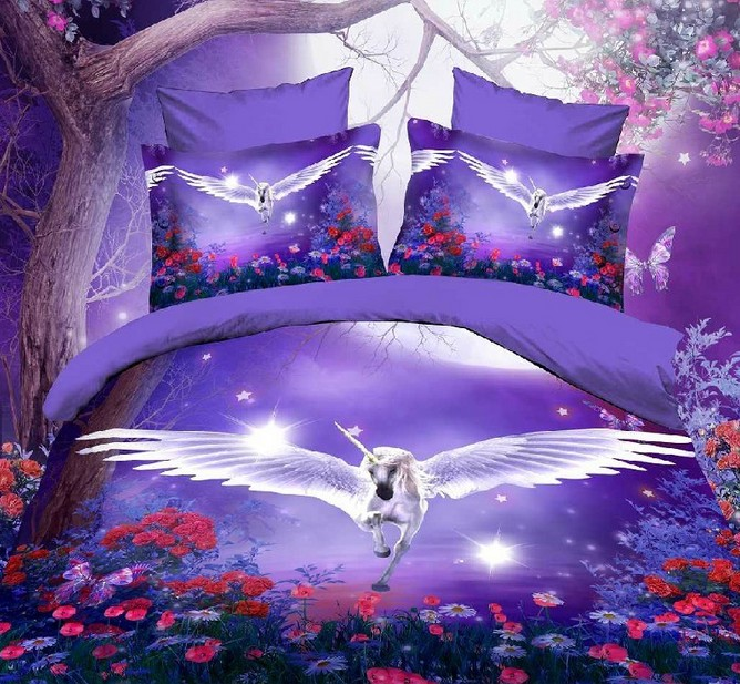 sexy purple color flying horse print bedding set for girls home decor full queen size bed linens duvet covers sheets 4-5 piecessexy purple color flying horse print bedding set for girls home decor full queen size bed linens duvet covers sheets 4-5 pieces