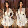 White Sex Deep V Neck Long Sleeve Lace Mini Length Cocktail Dress Beaded Waistline Short Vestidos De Festa Curtos Noite
