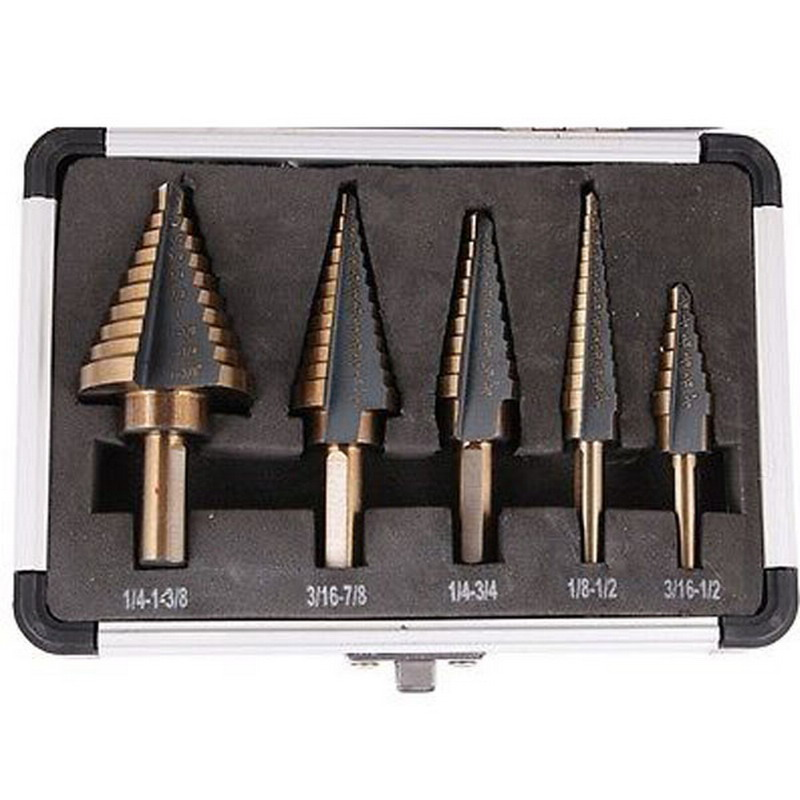 New Arrival 5pcs/Set HSS Cobalt Multiple Hole 50 Sizes Step Drill Bit Set Tools w/ Aluminum Case VEM37 T50 5pcs hss multiple hole cutter step drill bit set for metal woodworking high speed power tools with aluminum case