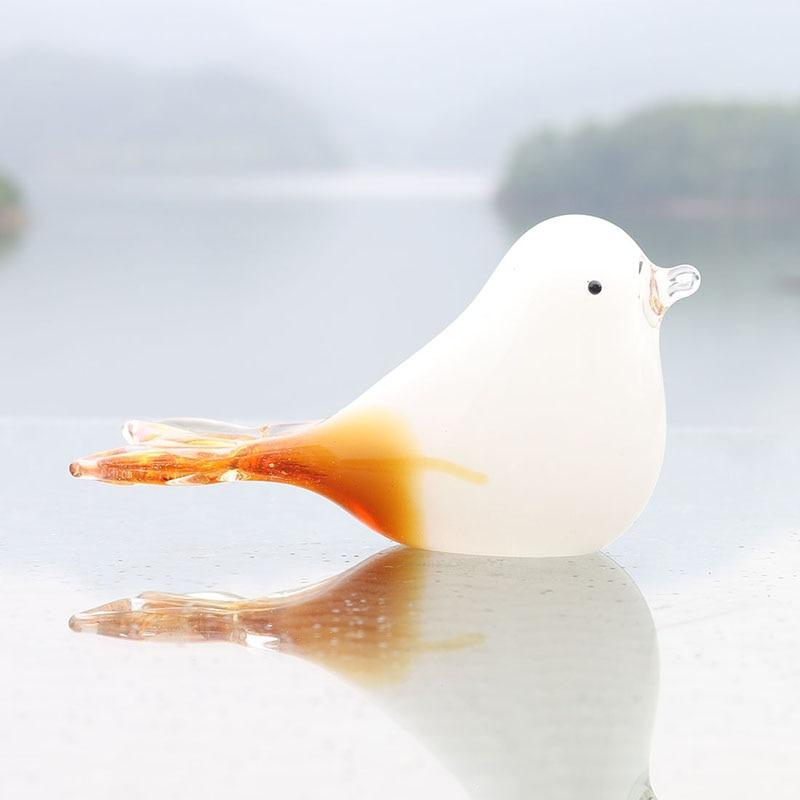 H&D Hand Blown Glass Little Bird Desk Pet Pigeon Paperweight Art Glass Blown Bird Animal Figurine Gift Home Decor Ornament