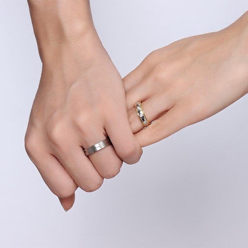 5 мм Нержавеющаясталь золото Two-Tone обещание фантазии Кольца для пар, круглый камень cz Свадебные Валентина полосы для Для мужчин и Для женщин