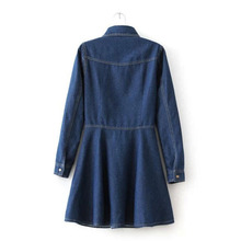 Hot Sale 2015 New Spring Single Breasted Casual Denim Dress Polo Collar Solid Above Knee Dress