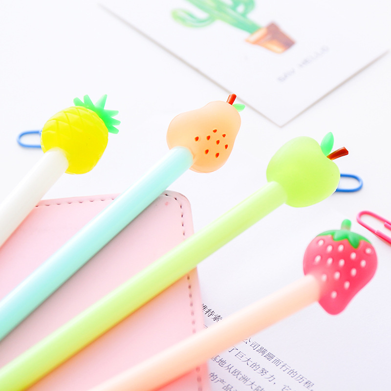 Creative Glitter Fruit Pie Cute Gel Pen 0.38 Kawaii Cartoon Pineapple  School Office Supplies Stationery Shop Student Tools Goods-in Gel Pens from  Office ... 00f500f431ad