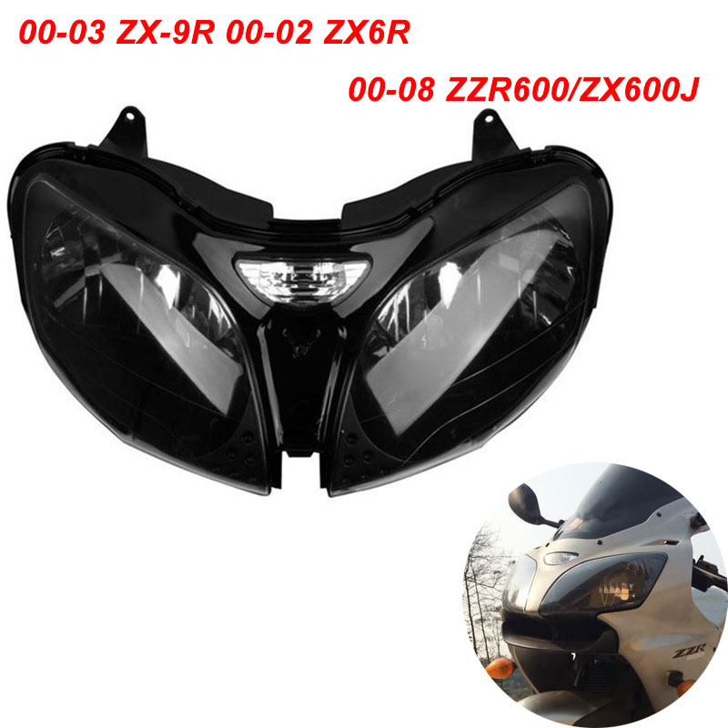 Pour Kawasaki 2000-2003 ZX-9R 2000-2002 ZX6R 2000-2008 ZZR600/ZX600J Moto Phare Avant lumière Lampe Phare CLAIR