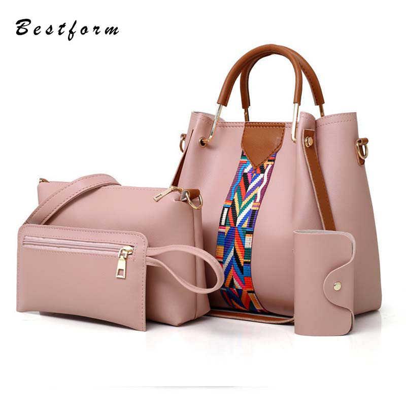 556bf404b37f 4 в 1 сумка в комплекте Модные женские Сумки из искусственной кожи сумка на  плечо композитная
