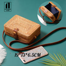 купить 2019 Round Straw Bags Women Summer Rattan Bag Handmade Woven Beach Cross Body Bag Circle Bohemia Handbag Bali Lowest price hot по цене 1687.55 рублей