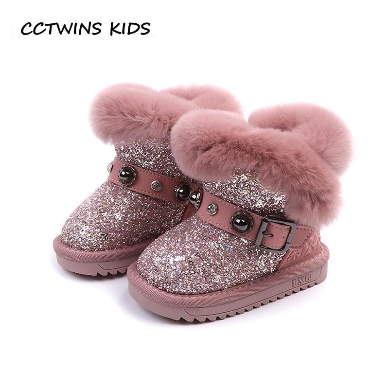 CCTWINS KIDS 2019 Winter Girl Fashion Mid Calf Boot Children Warm Glitter  Snow Boot Baby Brand a9575def2c73