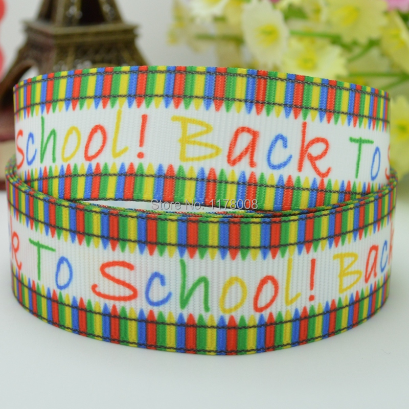 free shipping 78 22mm crayon back 2 school crayola printed grosgrain ribbon hairbow diy handmade wholesale oem 50yd