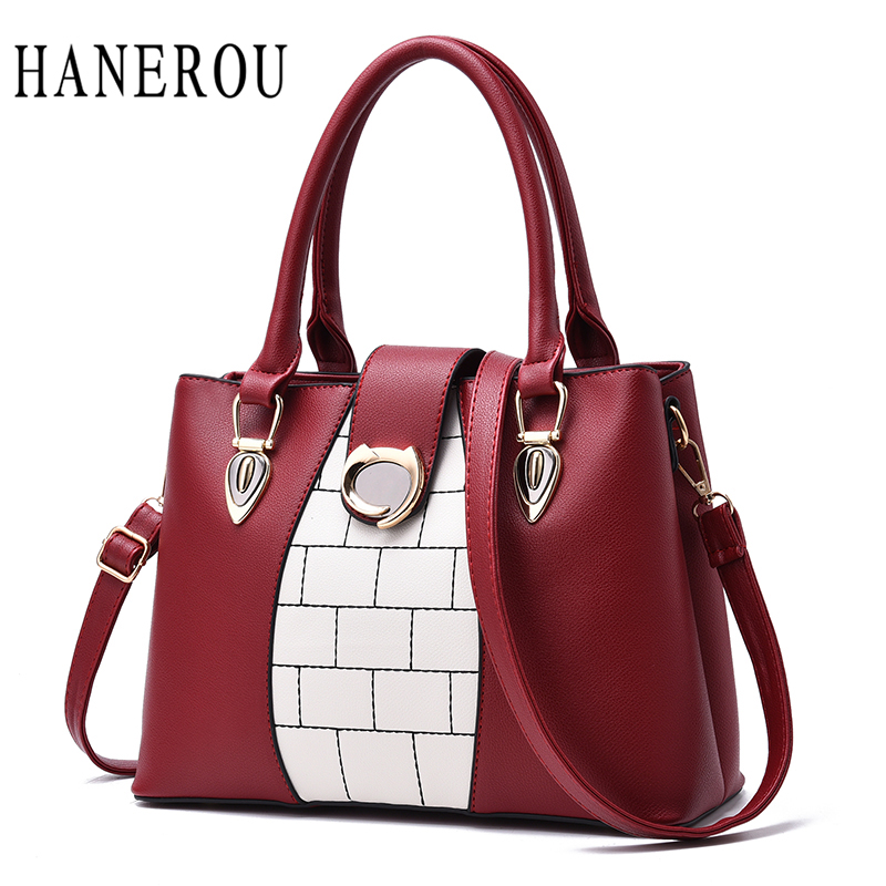 Luxury Lock Handbag Women Bag Big Patchwork Crossbody Bags For Women	Tote Bag	High Quality Women Leather Handbags Fashion Sac aosbos fashion portable insulated canvas lunch bag thermal food picnic lunch bags for women kids men cooler lunch box bag tote