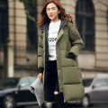 Plus Size Autumn And Winter Long Section Down Cotton Thick Warm Coat Leisure Slim Loose Hooded Cotton Coat College Style