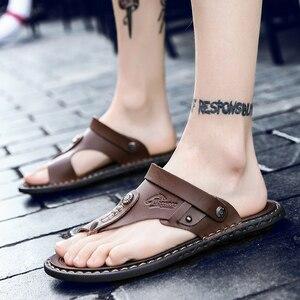 Image 5 - POLALI męskie sandały oryginalne skórzane męskie sandały plażowe marki męskie obuwie klapki kapcie męskie trampki letnie buty