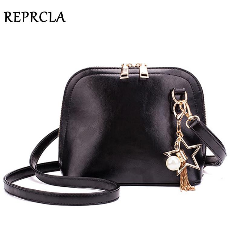 REPRCLA High Quality Shoulder Bag PU Leather Crossbody Messenger Bags Fashion Tassel Women Bag Handbag Black Sac A Main