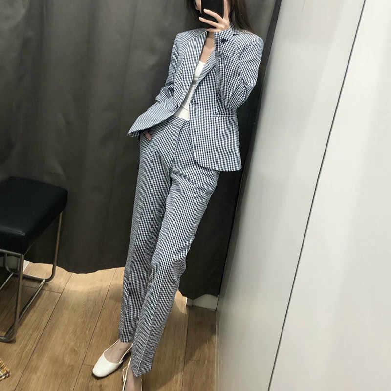 スーツ女性 2019 夏新女性のカジュアルなチェック柄長袖スーツジャケットハイウエストストレートパンツカジュアルパンツツーピース