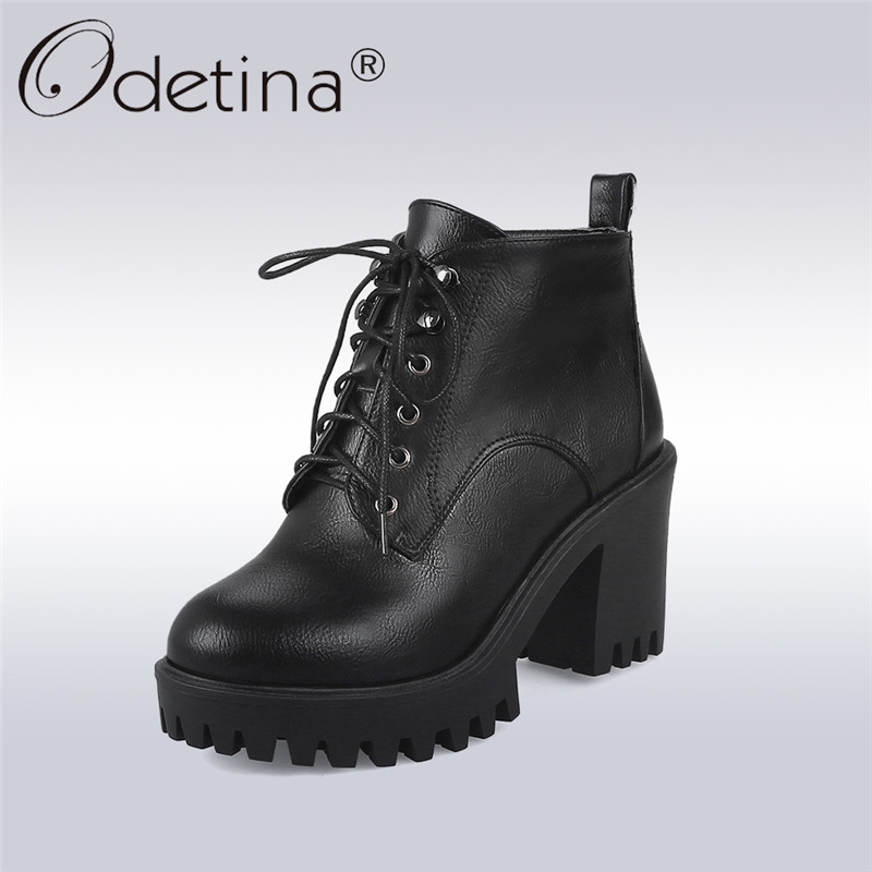 Odetina 2018 New Fashion Women Lace Up Ankle Boots Square Heel Shoes Female High Heels Platform Booties Casual Big Size 32-43 new high heel thick heel ankle boots for women platform lace up women boots casual shoes woman