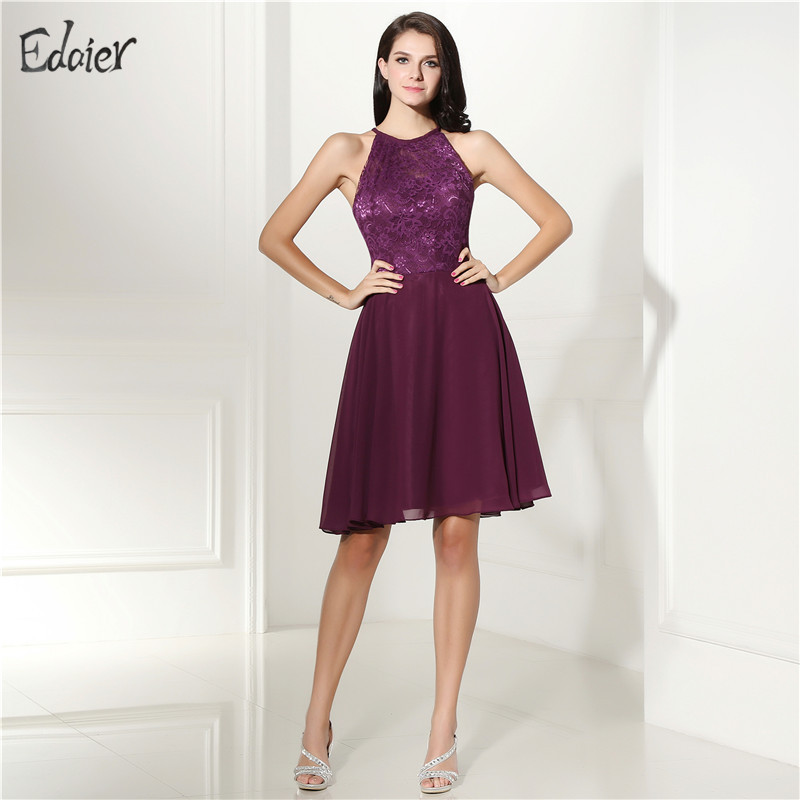 Women's Fashion Cocktail Dresses Lace A line Scoop Neck Sexy Open Back Knee Length Purple Prom Homecoming Dresses Party Gown