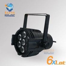 6X LOT 7 10W 4IN1 Led Par Light RGBW Aluminum Case DMX 512 Stage LED Quad