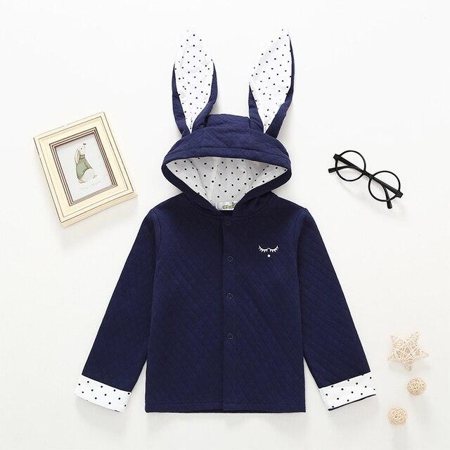 2019 bé trai quần áo mùa xuân và mùa thu dài tai thỏ trùm đầu áo khoác bé quần áo bông đội mũ trùm đầu chàng trai áo khoác quần áo