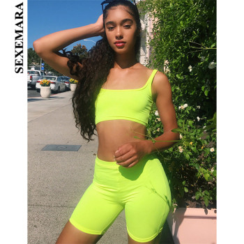 SEXEMARA Sexy Tracksuit Women 2 Piece Set Crop Top Biker Shorts Fluorescent Green Pink Sweat Suits Club Bodycon Outfits C87-AZ39 plus size women in overalls