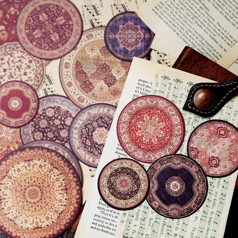 1 Pack = 20 Pcs Vintage Tapijt Thema Ronde Sticker Diy Jounal Dagboek Decoratie Benodigdheden Gratis Verzending