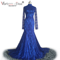 2018 Formal Sexy Lace Maid Of Honor Gowns Wedding Party dress Navy Blue evening Dresses Long Sleeve evening dress