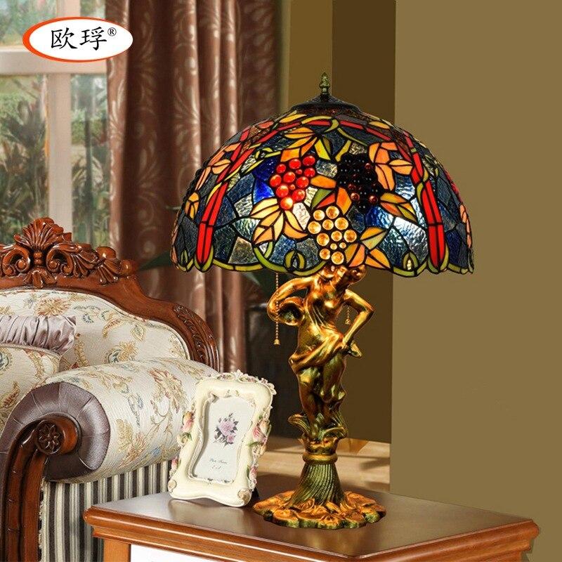 Американский стиль, виноград Тиффани, цветная стеклянная настольная лампа для гостиной, бара, столовой, спальни, прикроватная настольная ла