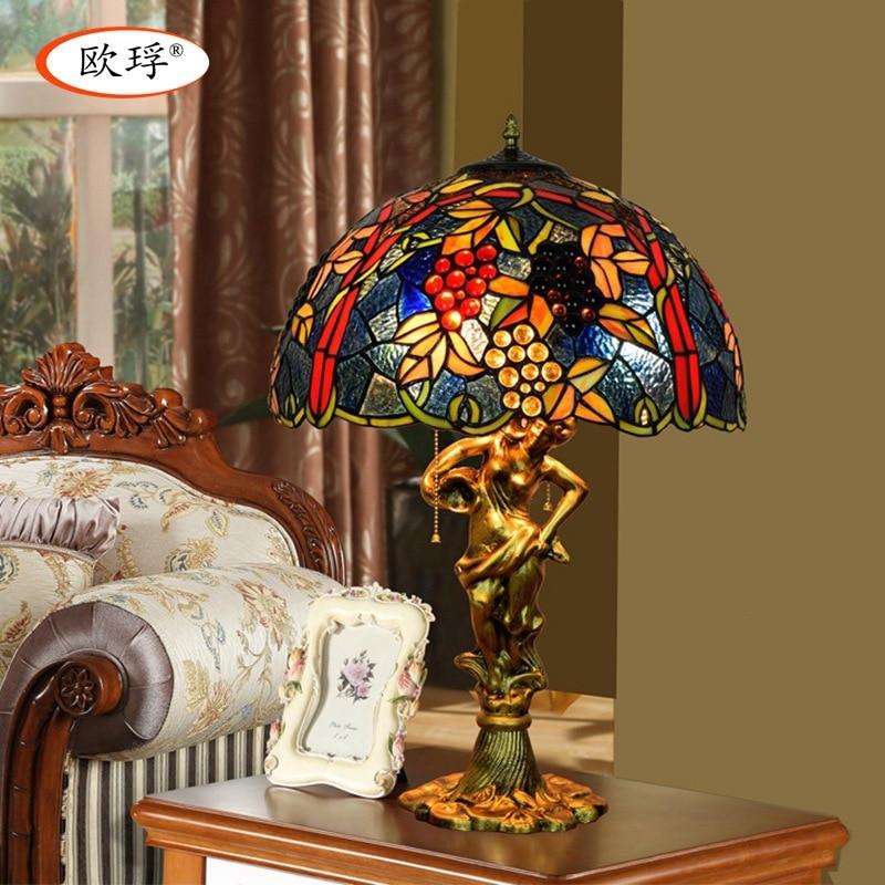 Американский стиль виноград Тиффани цвет стекла, настольные лампы для гостиной бар столовая спальня прикроватный настольная лампа