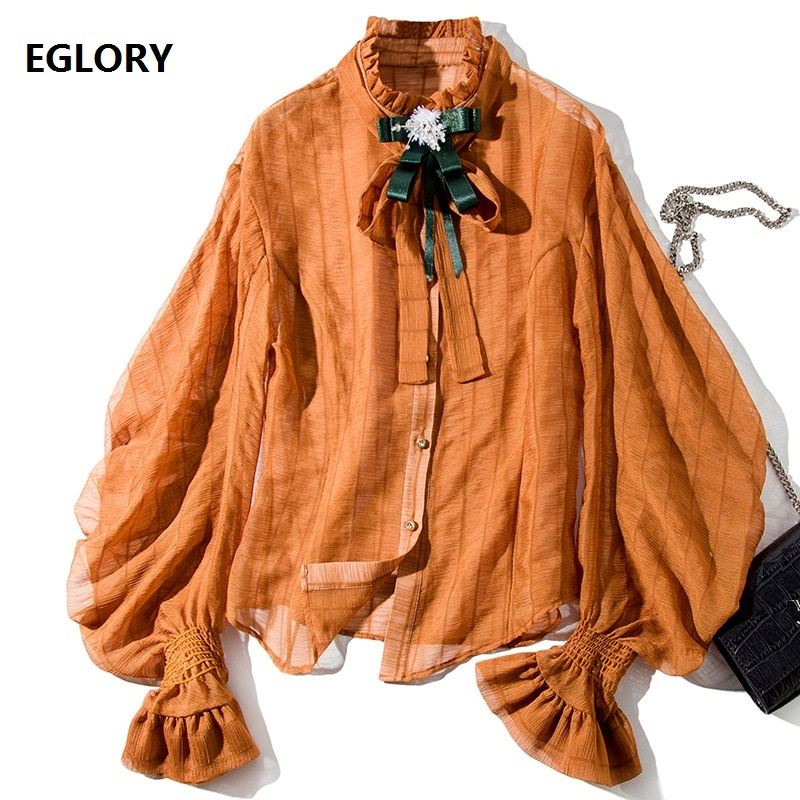 New 2019 Fashion Runway Style   Blouse     Shirt   Women Bow Tie Elegant Vintage Lantern Sleeve   Blouse   Autumn Ladies Yellow Tops   Shirt