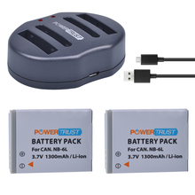 2Pcs 1300mAh NB-6L NB6L NB 6L Camera Battery + Dual USB Charger for Canon  IXUS 310 SX275 SX280 SX510 200 105 210 300 S90 S95