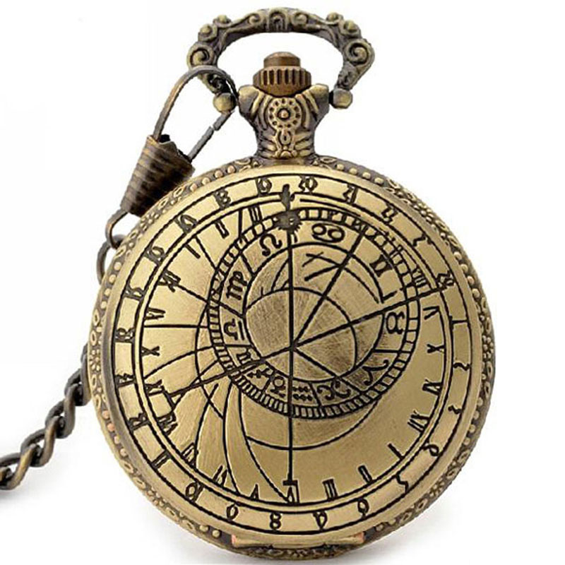 Vintage Bronze Pocket Watch With Chain Classical Constellations Design Fob Watches For Men Women