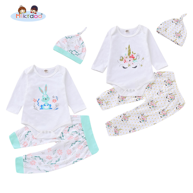 Toddler Baby Boys Girls Cartoon Clothes Set Rabbit Elephants Print Long Sleeve Romper Pant Hat 3PCS Outfit Clothing