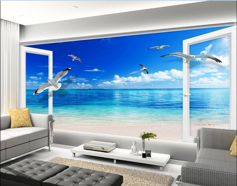 3d wallpaper custom mural non-woven photo European The window on the beach painting wallpaper for walls 3 d wall murals wallpaer custom baby wallpaper snow white and the seven dwarfs bedroom for the children s room mural backdrop stereoscopic 3d