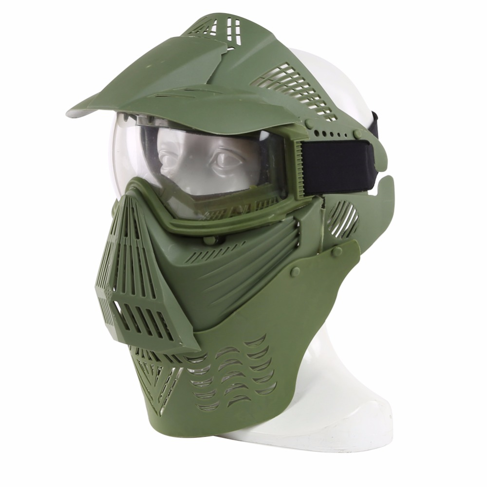 WoSporT Airsoft Full Face Mask Tactical Paintball Masks Military Lens Mask with Goggles Neck Protect for Outdoor CS Accessory