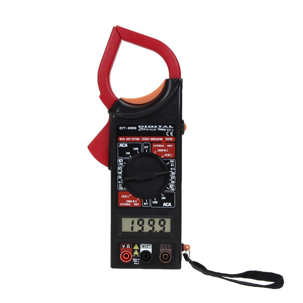 DC/AC voltaje AC resistencia de corriente y diode Meter Tester DT266 medidor de pinza multímetro Digital con zumbador de continuidad
