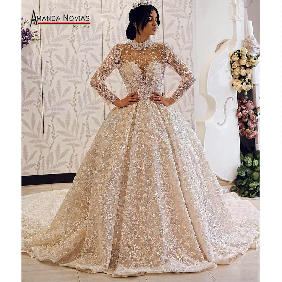 Amanda Novias brand wedding dress long sleeves  bride dress 2019Wedding Dresses   -