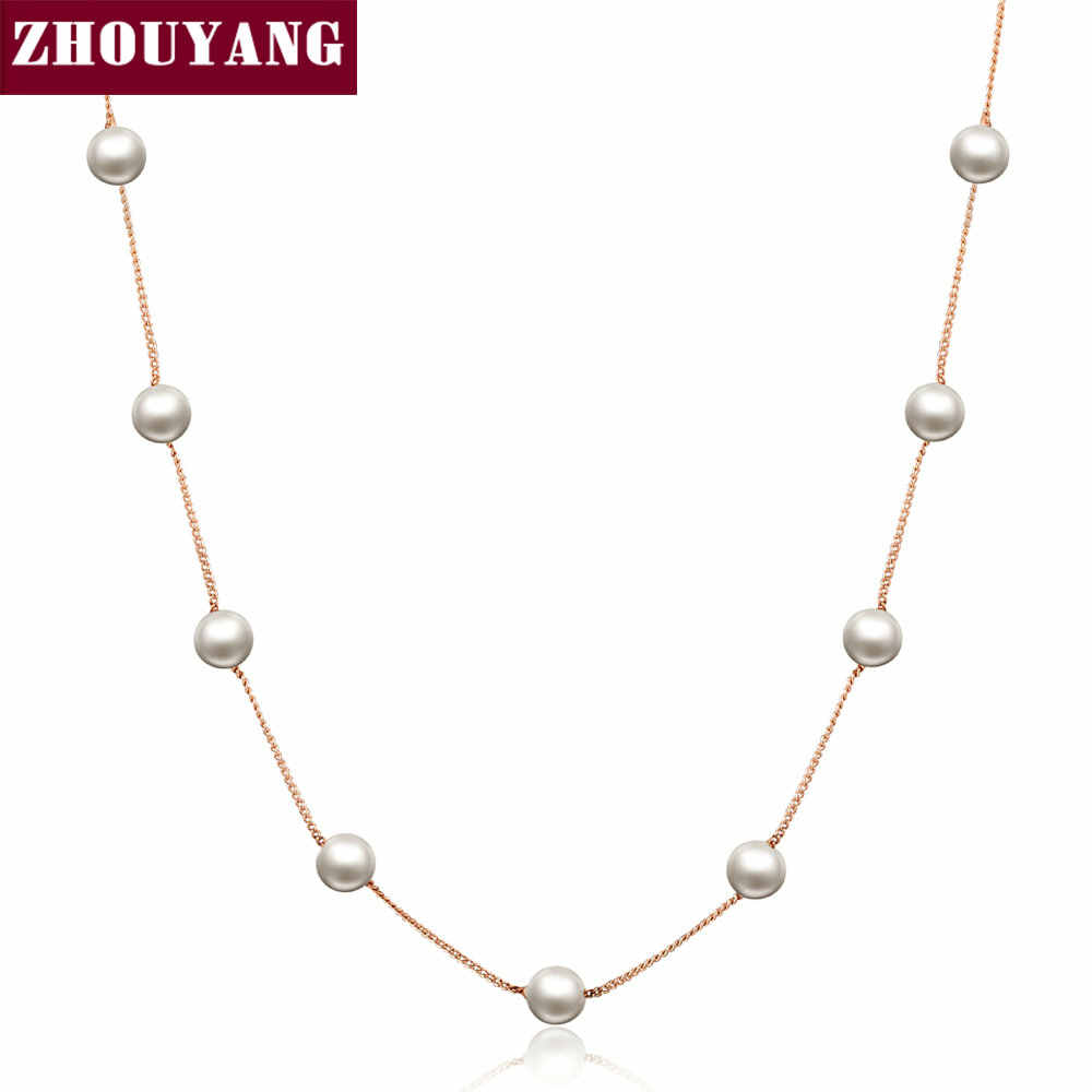 Top Quality Lady Imitation Pearl Rose Gold Color Chains Necklace Jewelry ZYN251 ZYN461 ZYN589