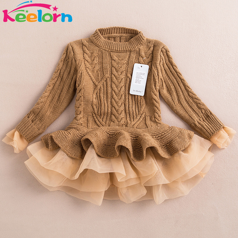 Keelorn Girls Dress 2017 Winter Pullover Knitted Sweaters Ball Gown Dress Long Sleeve Outerwears O-neck Kids Knitwear 3-7Y
