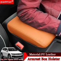 Car Styling Car Pad Cover Leather Storage Protection Cushion Center Auto Seat Armrests Box Pads For Volkswagen Tiguan 2017 2018
