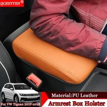 Qcbxyyxh автомобилей для укладки Pad кожаный чехол для хранения защиты Подушки центр сиденья авто Подлокотники для автомобиля коробка колодки для VW Tiguan 2017 -2018