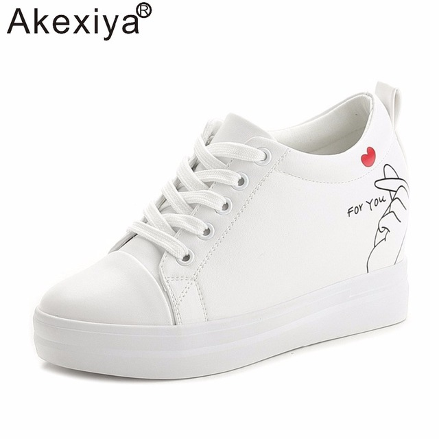 Akexiya Spring Autumn Women Wedge Sneakers PU Leather Running Shoes Ladies  White Thick Soled Platform Wedge Heels 21.5cm e4be73a857