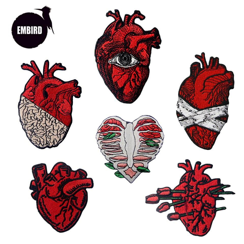 Embird патч, вышитые патчи, вышивка красным сердечком, ручная работа, 3D Железный патч для одежды, джинсы, патчи