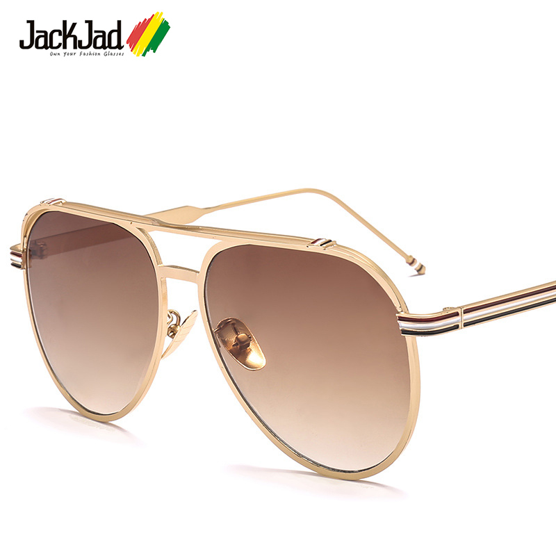 564bcc30331 JackJad 2018 New Fashion Aviation Style Three Color Stripes Sunglasses Men  Women Cool Brand Design Sun