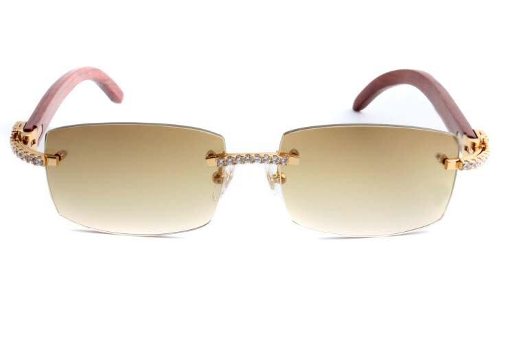 Cartier 3524012 New Diamond Wood Sunglasses Gold (2)